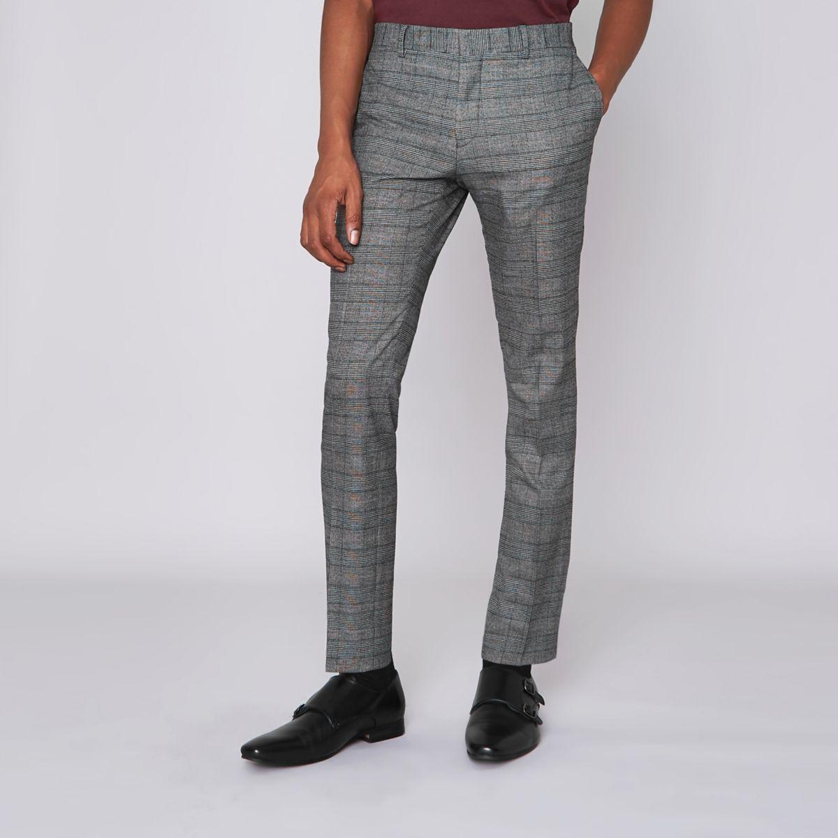Bruine geruite ultraskinny pantalon