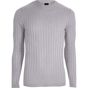 Light grey rib knit muscle fit jumper