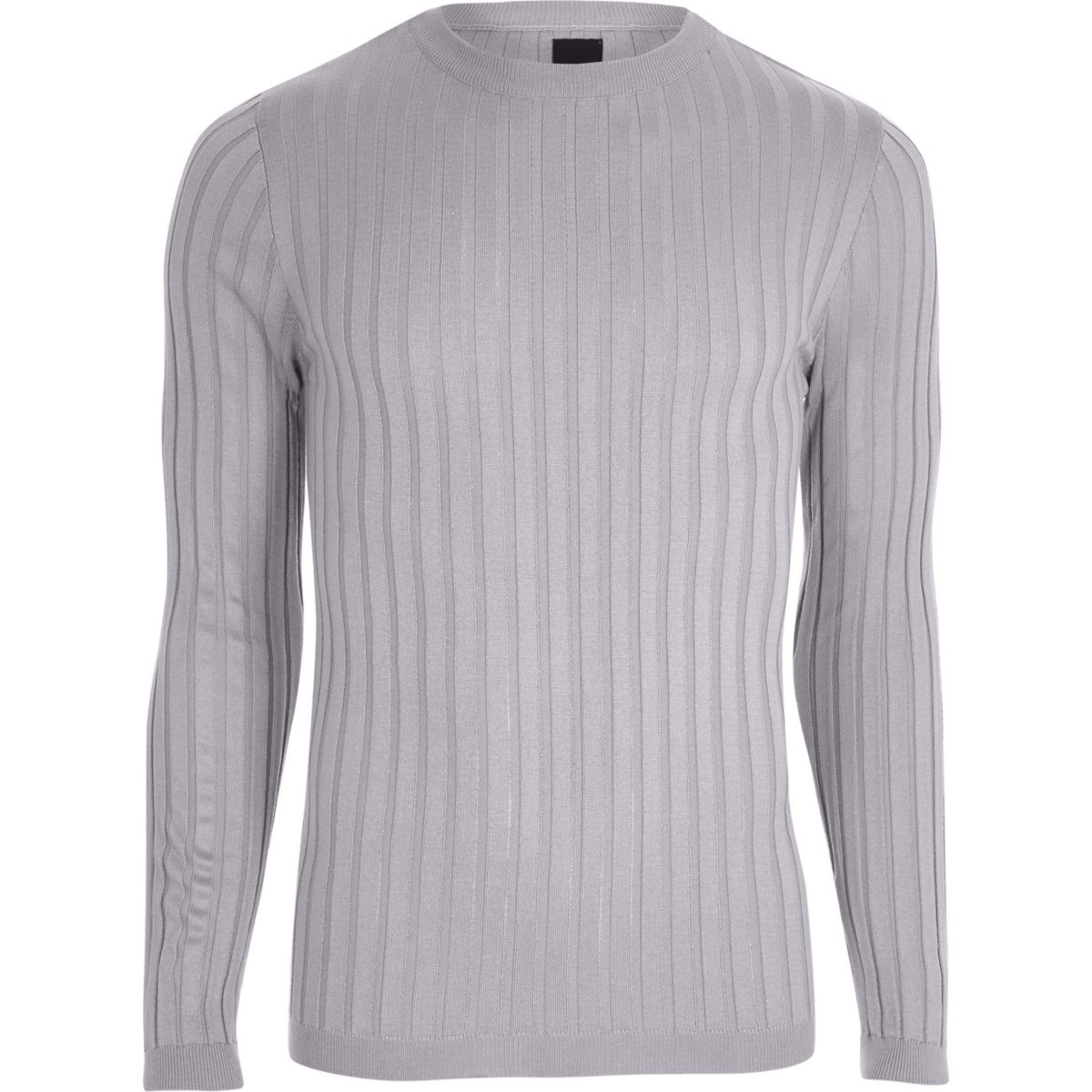 Light grey rib knit muscle fit sweater