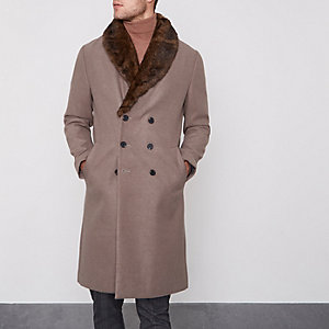 Light brown faux fur collar smart coat