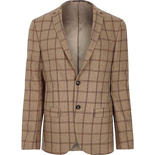 Beige check skinny fit suit jacket