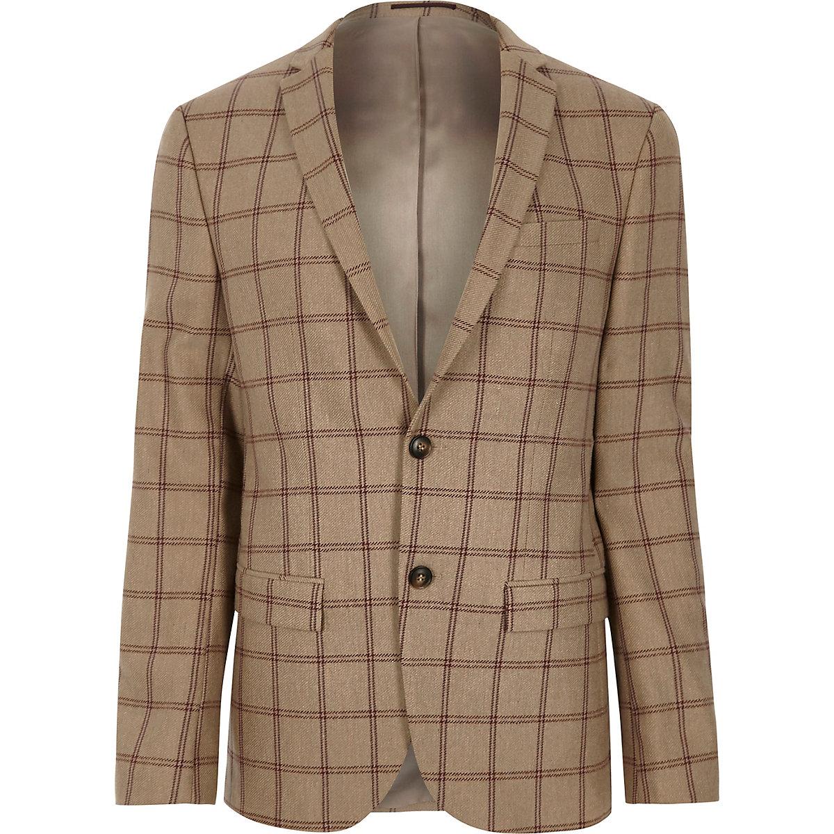 Veste de costume skinny à carreaux beige