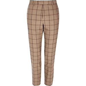 Pantalon de costume skinny à carreaux beige