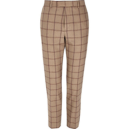 Beige check skinny fit suit pants