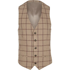Cream check suit vest
