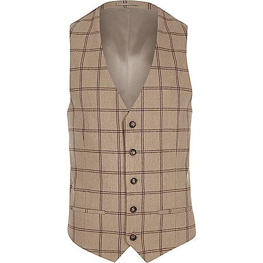 Cream check suit waistcoat