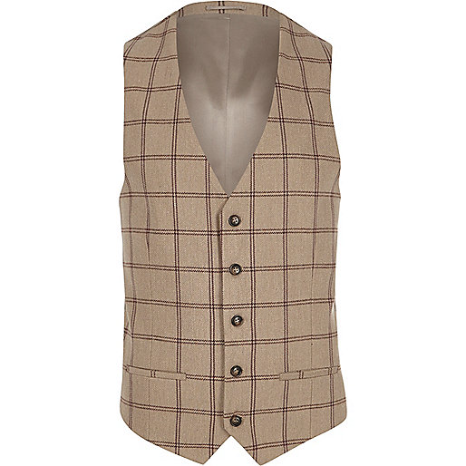 Cream check suit vest