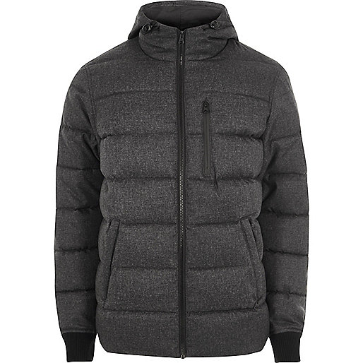 Big and Tall grey hooded puffer jacket