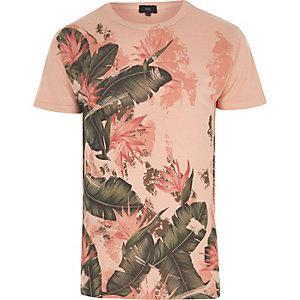 Oranje T-shirt met ronde hals en tropische bladerprint