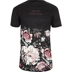 T-shirt ras du cou noir imprimé floral