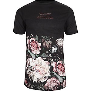 Zwart T-shirt met ronde hals en bloemenprint