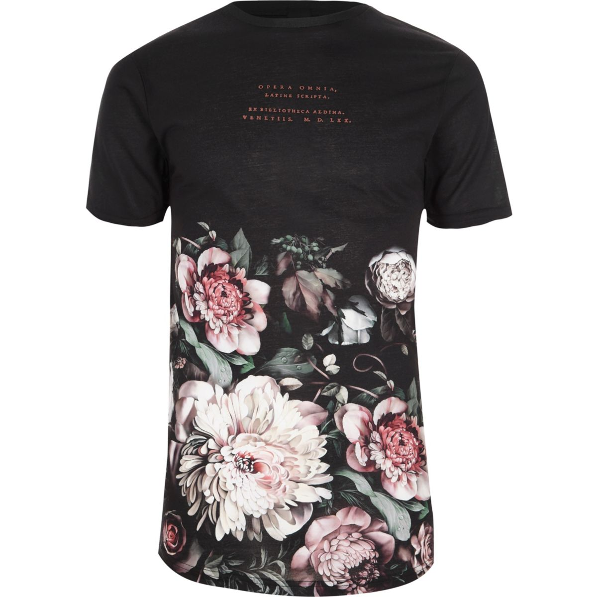 Black floral print crew neck t shirt seasonal offers for Black floral print shirt