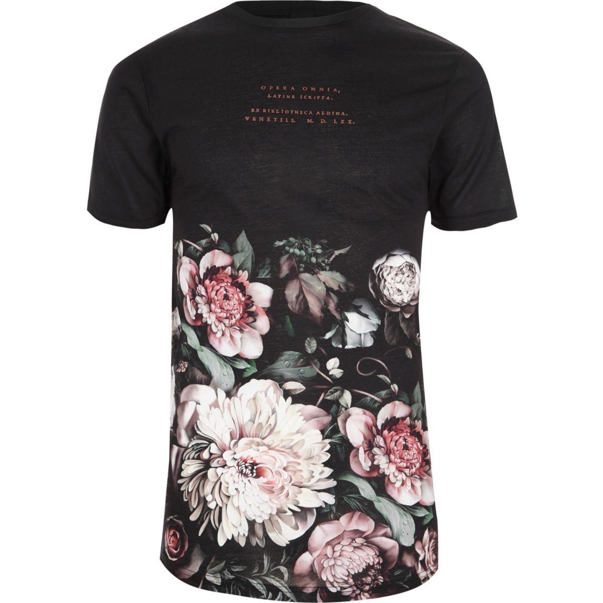 Schwarzes T-Shirt mit Rundhalsausschnitt und Blumenmuster