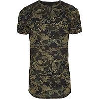 Green camo print muscle fit T-shirt