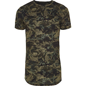 Green camo print muscle fit T-shirt