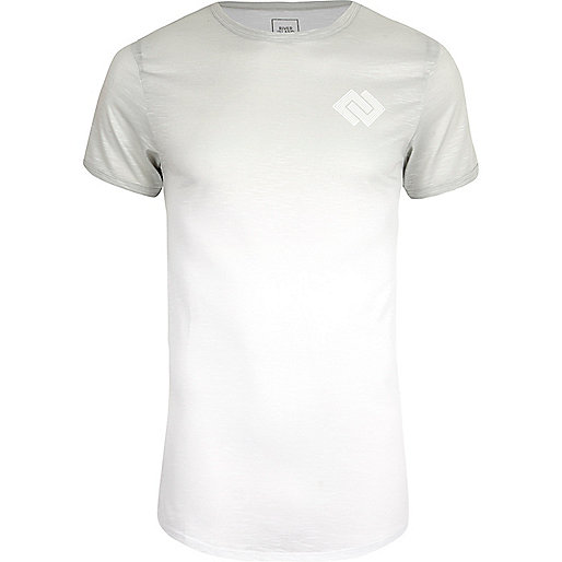 White fade muscle fit T-shirt