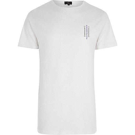 White 'underground' print crew neck T-shirt
