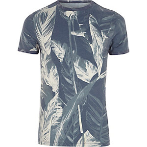 Grey palm print muscle fit T-shirt