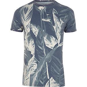 T-shirt ajusté à imprimé palmier gris
