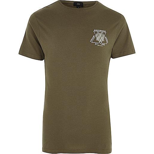 Green 'Amsterdam' print crew neck T-shirt