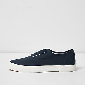 Navy canvas contrast sole plimsolls
