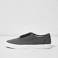 Black canvas contrast sole plimsolls