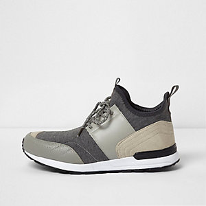 Grey mid top runner sock trainers