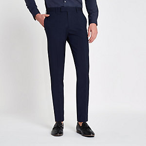 Dark blue stretch skinny fit suit pants