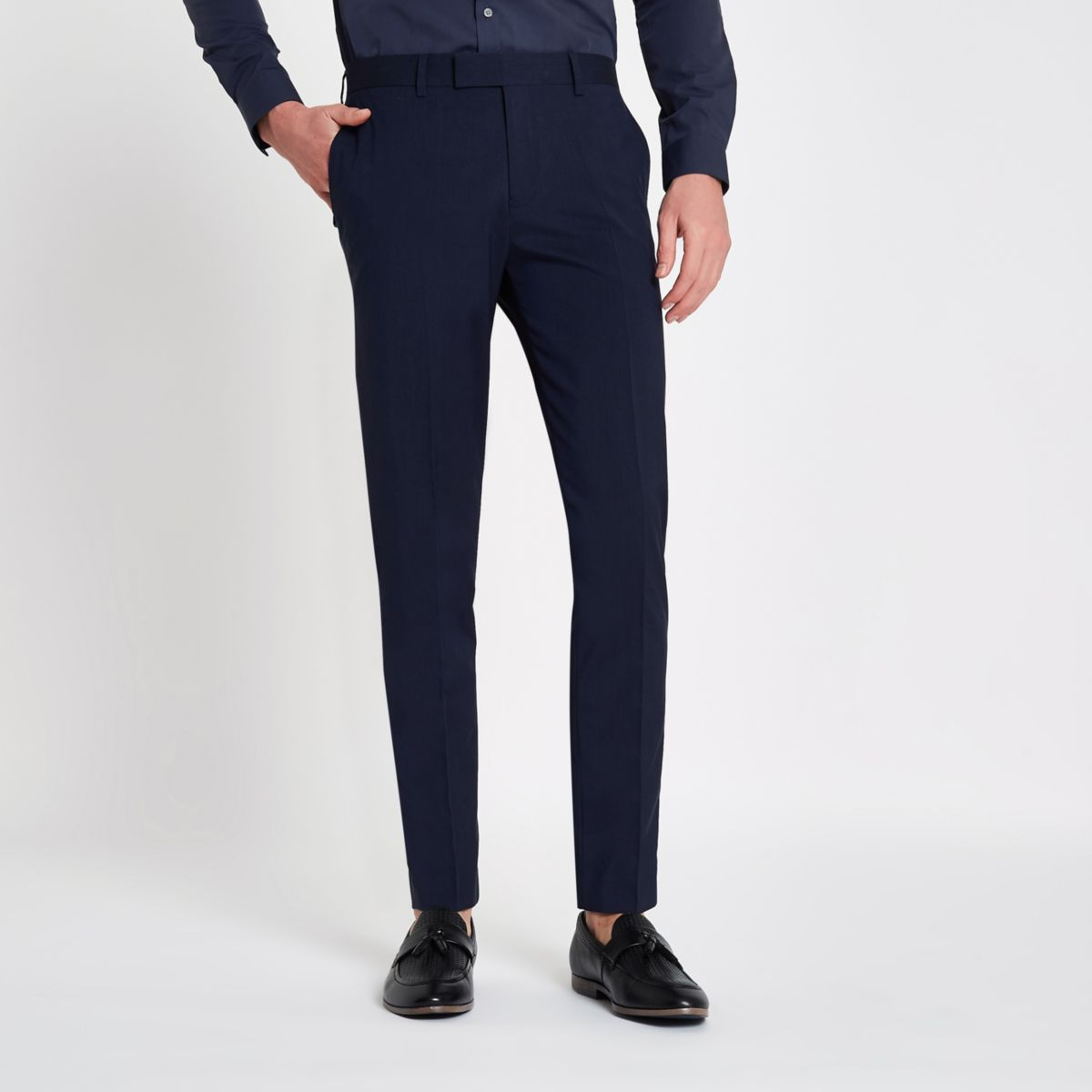 Navy stretch skinny fit suit pants