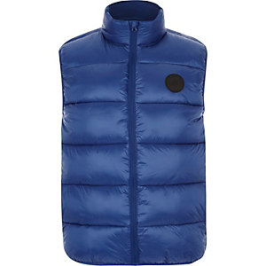 Blue funnel neck puffer vest