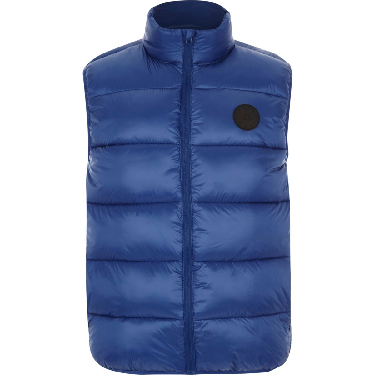 Blue funnel neck puffer gilet