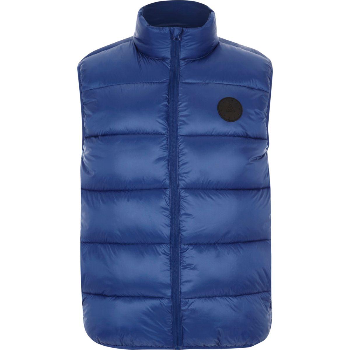 Blue funnel neck puffer vest