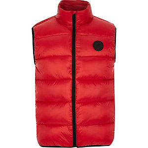 Red puffer gilet