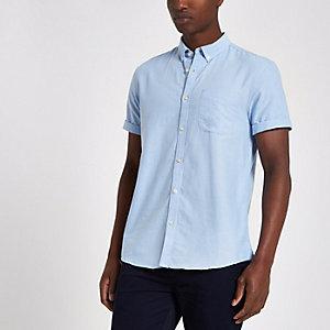 Blauw Oxford overhemd met korte mouwen