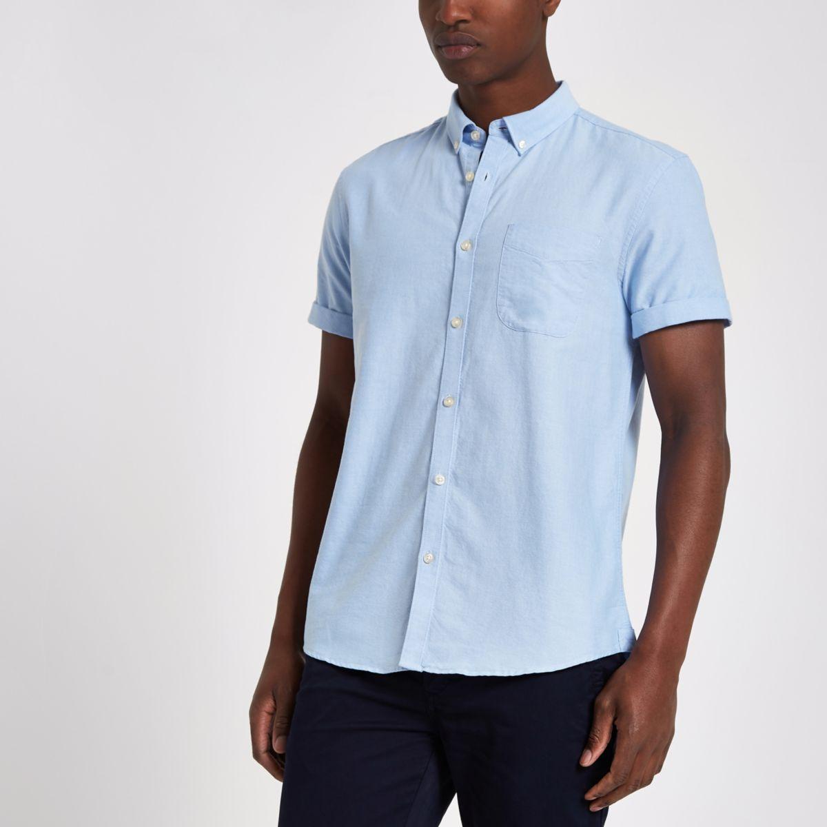 Blue short sleeve Oxford shirt