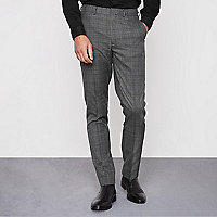 Grey check smart slim fit trousers