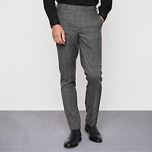 Grey check smart slim fit pants