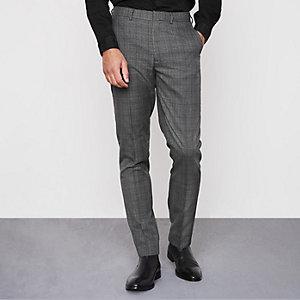 Pantalon slim habillé à carreaux gris