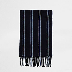 Navy stripe scarf