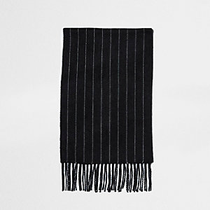 Dark grey chalk stripe scarf