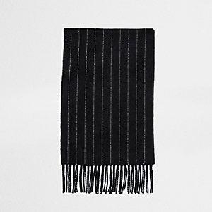 Donkergrijze sjaal met krijtstreep