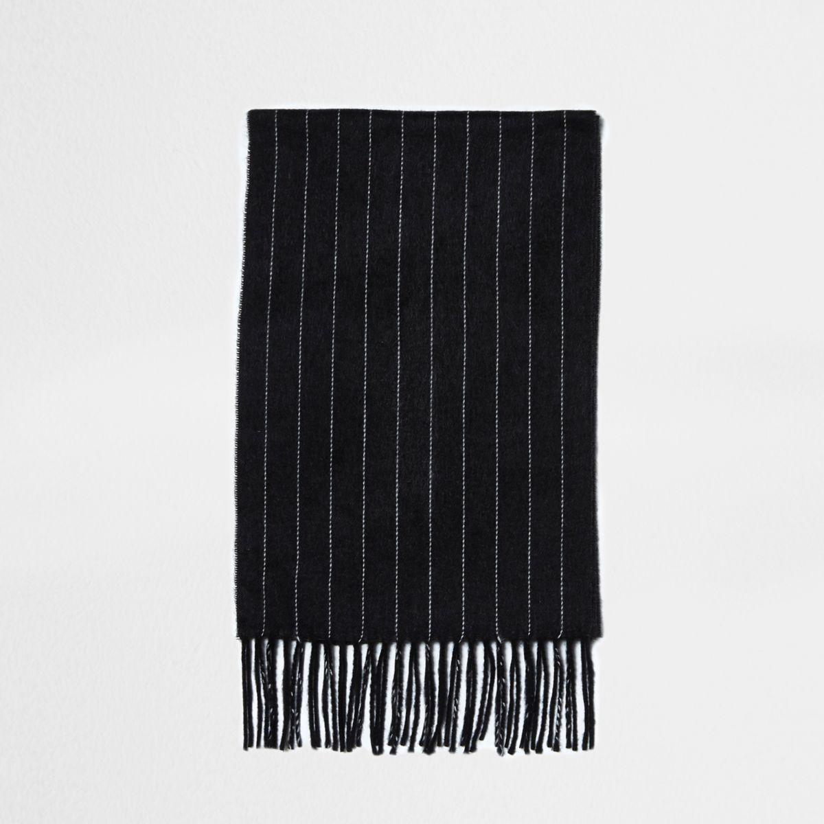 Dark grey chalk stripe scarf