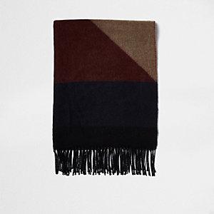 Grijze en camelkleurig geblokte grote sjaal