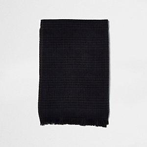 Bruine en marineblauwe grote sjaal met klassieke ruit