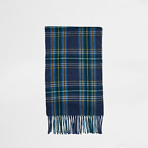 Blue plaid check tassel scarf