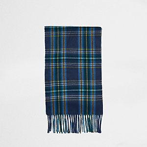 Blauwe geruite sjaal met kwastjes