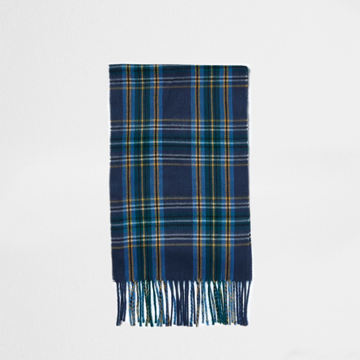 Blue plaid check tassel scarf