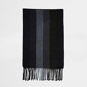Kaki sjaal met brede strepen