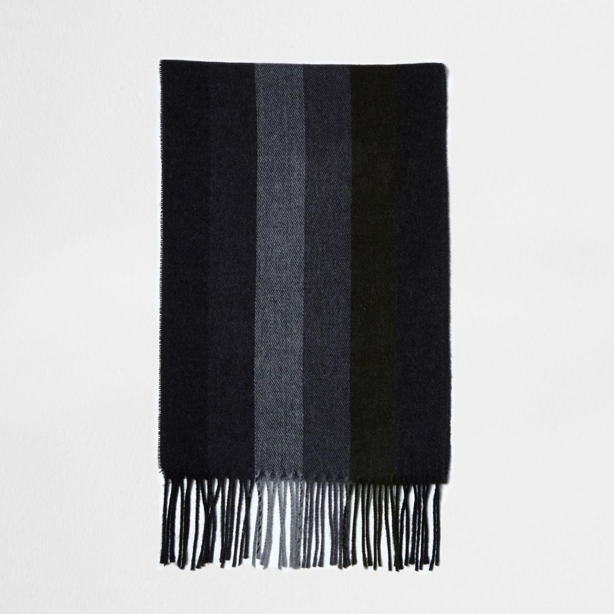 Khaki block stripe scarf