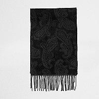 Black paisley print scarf